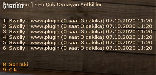 [GENEL] - Yetkili Toptime!, [GENEL] - Yetkili Toptime! plugini, eklentisi, CS:GO Plugin, CS GO Plugin, csgo, cs:go, csgo plugin, plugins, pluginler, plugin, satis, satış, plugincim, cs:go plugins, türkçe plugin, sourcemod, pluginleri, eklentiler, CS:GO eklentileri, CSGO eklentileri